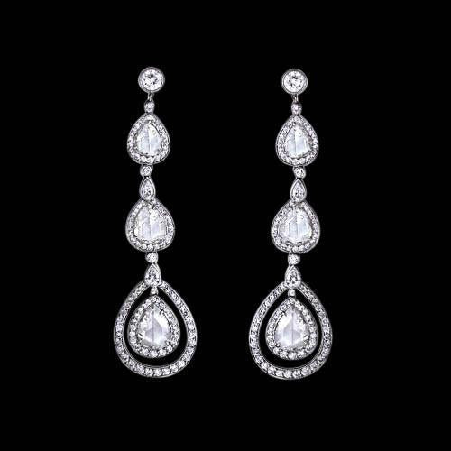 Pear Diamonds Dangle Earring Pair 2.50 Carats White Gold 14K Dangle Earrings