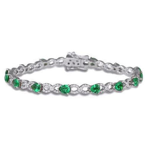 Pear Shape Green Emerald With Diamond Tennis Bracelet 6.75 Carats White Gold 14K Gemstone Bracelet