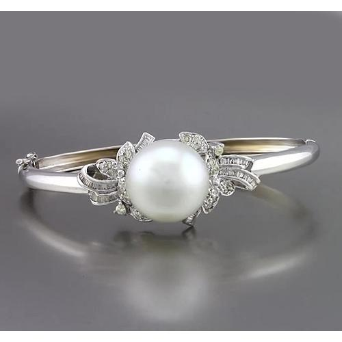 Pearl And Diamond Bangle 20 Mm 3 Carats Baguette Round White Gold 14K Jewelry Gemstone Bracelet
