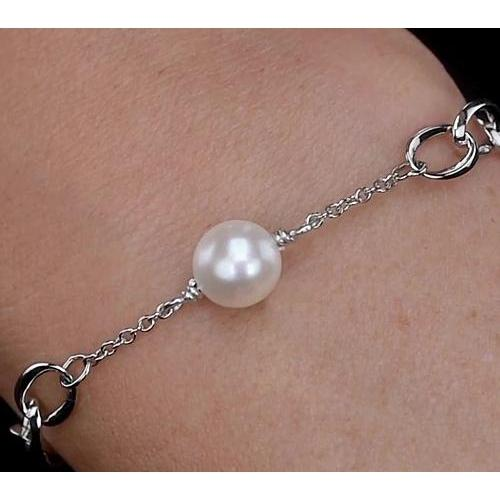 Pearl Bracelet 12 Mm Women White Gold New Gemstone Bracelet