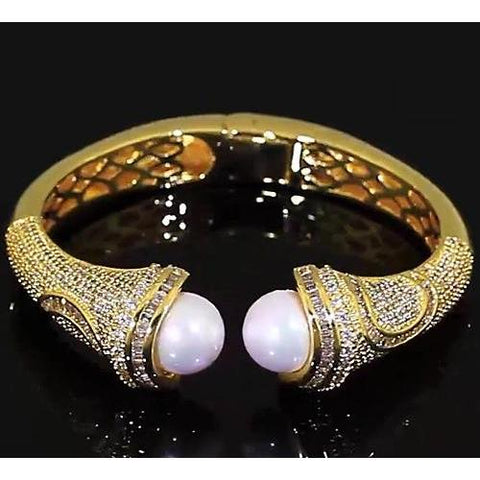 Pearl Diamond Bangle 10 Mm 5 Carats Women Yellow Gold 14K Bangle