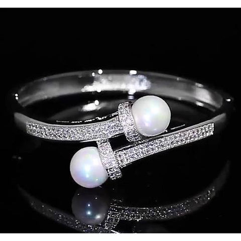 Pearl Diamond Bangle 12 Mm 4 Carats Women Jewelry F Vs1 Bangle