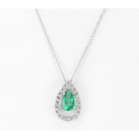 Pendant Necklace Colombian Emerald And Diamonds 4.25 Carats White Gold 14K Pendant