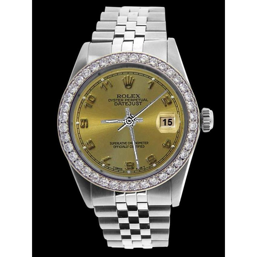 Perpetual Rolex Men Watch Ss Champagne Datejust Arabic Dial Rolex