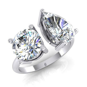 Two Stone Round And Pear Diamond Ring 4 Carats White Gold 14K