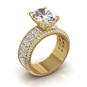Diamond Engagement Ring Oval Center 6.92 Carats Yellow Gold 14K
