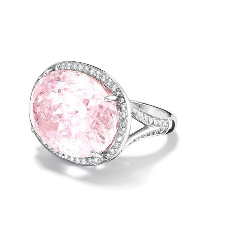 Pink Kunzite With Diamonds 18.75 Carats Wedding Ring Gold White 14K Gemstone Ring