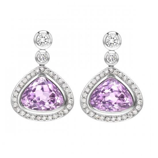 Pink Kunzite With Diamonds 23.50 Ct Dangle Earrings White Gold 14K Gemstone Earring
