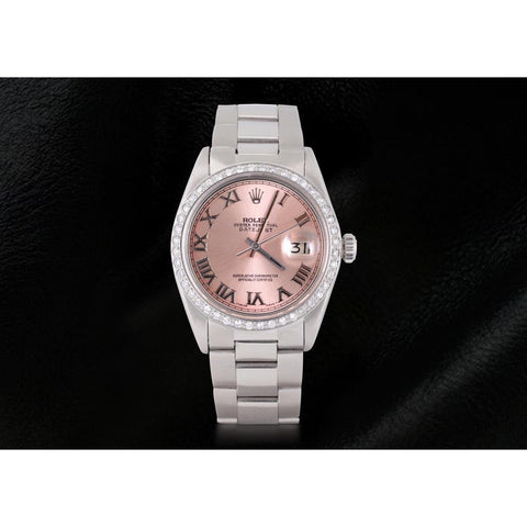 Pink Roman Dial Diamond Bezel Rolex Datejust Ss Oyster Men Watch Rolex