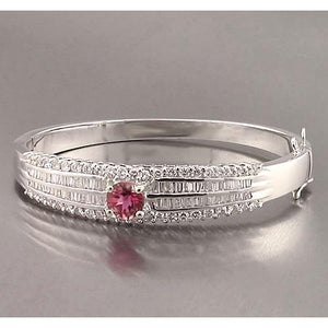 Pink Sapphire And Diamond Baguette Bangle 10 Carats New Bangle