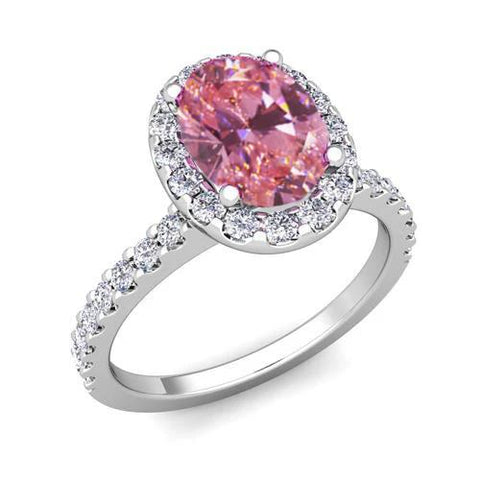 Pink Sapphire And Diamonds 3.90 Carats Ring White Gold Gemstone Ring