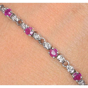 Pink Sapphire Diamond Tennis Bracelet 9 Carats Women Jewelry New Gemstone Bracelet
