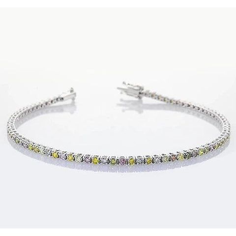 Pink, Yellow, Green & White Sapphire Tennis Bracelet Prong Set 4 Carats Jewelry Gemstone Bracelet