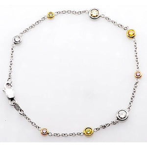 Pink & Yellow Sapphire And White Diamond Bracelet 2.95 Carats Women Jewelry Gemstone Bracelet
