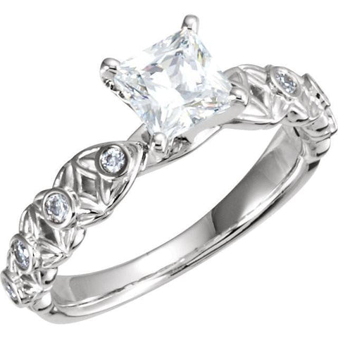 Princess And Round Brilliant Diamonds 1.66 Carat Engagement Ring White Gold 14K Engagement Ring