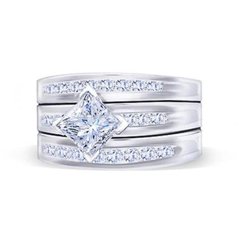 Princess And Round Brilliant Diamonds Engagement Ring 2.75 Carat Diamond Band Engagement Ring