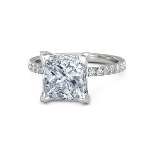 Princess And Round Cut 3.75 Ct. Diamonds Engagement Ring White Gold 14K Solitaire With Accents Solitaire Ring with Accents