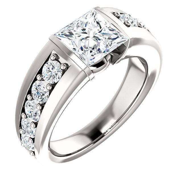 Princess And Round Diamonds 2.41 Carat Anniversary Ring Solid White Gold 14K Anniversary Ring