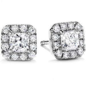 Princess And Round Halo Diamond Stud Earring  2 Ct. White Gold 14K Halo Stud Earrings