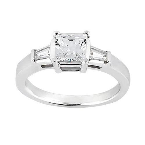 Princess & Baguette 1.20 Carat Diamond 3Stone Ring Solid White Gold 14K Jewelry Ring
