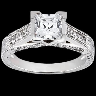 Princess Center Diamond 1.51 Carat Ring Antique Style Engagement Ring Solitaire Ring with Accents