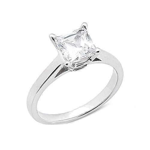 Princess Cut 2.01 Ct. Diamond Ring G Si1 Diamond Gold Ring