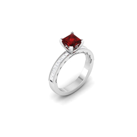 Princess Cut 3.00 Carats Ruby With Diamonds Wedding Ring Gold White Gemstone Ring