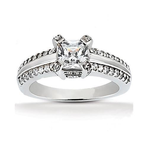 Princess Cut Diamond Solitaire Ring 2.20 Ct. Diamond With Accent Solitaire Ring with Accents