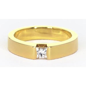 Princess Cut Diamond Tension Set Men'S Ring Yellow Gold 14K Mens Ring