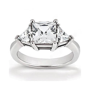 Princess Cut Diamond Three Stone Ring 2.21 Ct. Ring With Side Trilliants Trillions Three Stone Ring