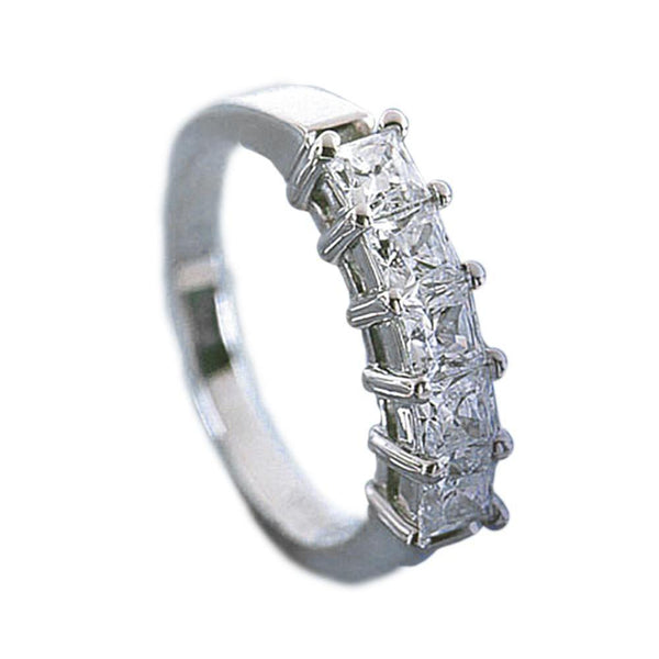 Princess Cut Diamonds Ladies Ring 2.5 Carat White Gold Ring