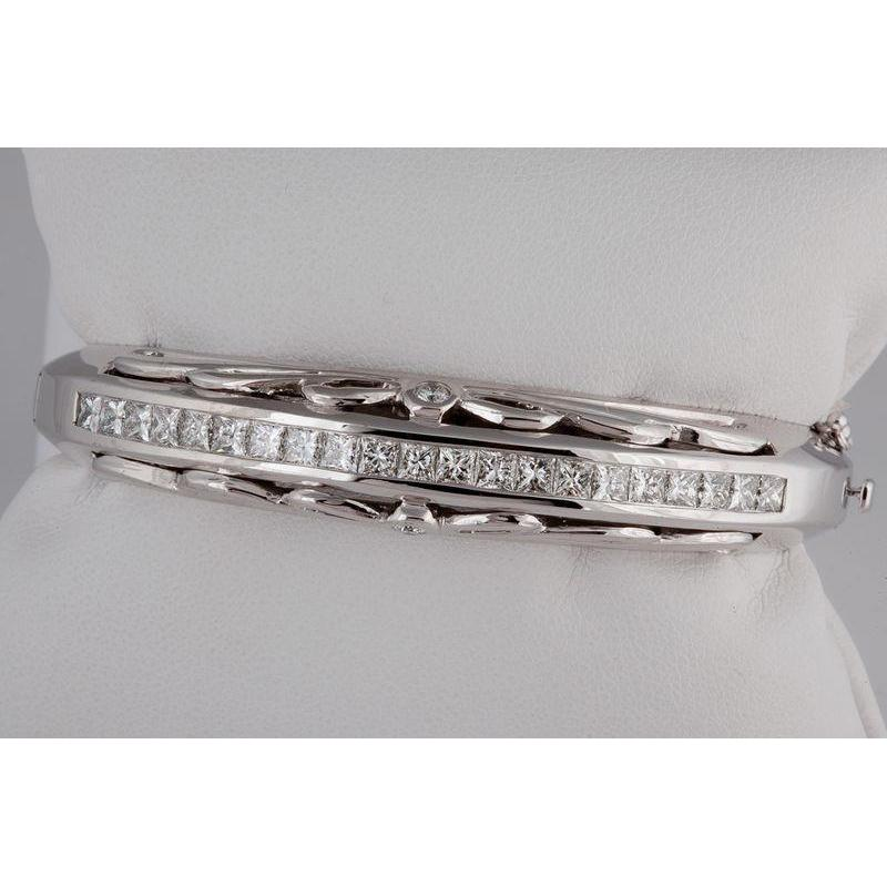 Princess Cut F Vs2 Diamond Bangle Bracelet Solid White Gold14K 5.5 Ct Bangle