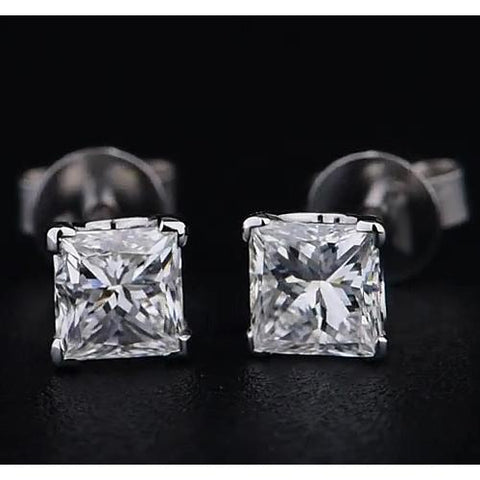 Princess Diamond Stud Earrings 1.50 Carats Prong White Gold 14K F Vs1 Stud Earrings