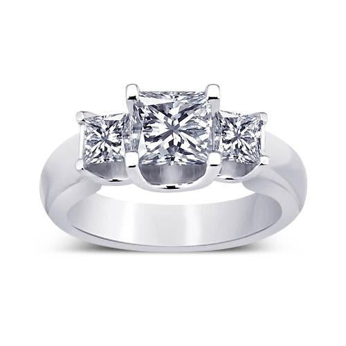 Princess Diamonds 2.31 Carat Three Stone Ring Solid White Gold New Past Present Future Anniversary Three Stone Ring