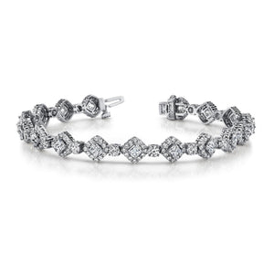 Princess & Round Cut 14.25 Ct Diamonds Spotlight Bracelet White Gold Tennis Bracelet
