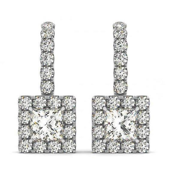 Princess & Round Diamonds 2.20 Carats Dangle Earrings White Gold 14K Dangle Earrings