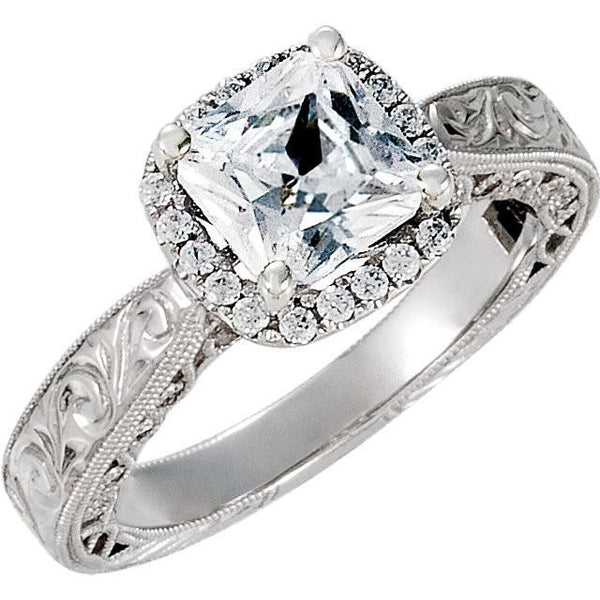 Prong Set 1.71 Carat Cushion Diamond Engagement Halo Ring Solid White Gold 14K Halo Ring