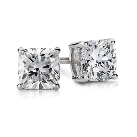 Prong Set 2 Ct Cushion Cut Diamond Stud Earring Solid White Gold 14K Stud Earrings
