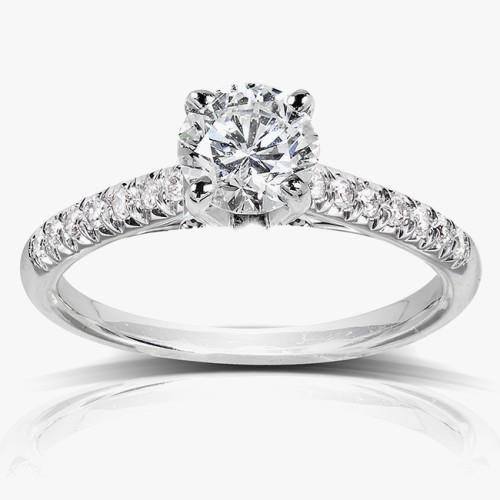 Prong Set 2.00 Carats Sparkling Diamonds Engagement Ring Gold 14K D Vs1 Solitaire Ring with Accents