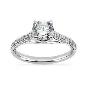 Prong Set 2.25 Carat Round Brilliant Diamonds Engagement Solitaire Ring With Accents White Gold 14K New Solitaire Ring with Accents