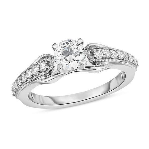 Prong Set 2.50 Carats Diamonds Antique Look Engagement Ring White Gold Solitaire Ring with Accents