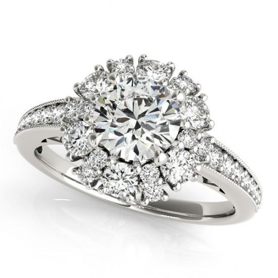 Prong Set 2.50 Carats Round Diamonds Engagement Halo Ring Solid Gold 14K Halo Ring