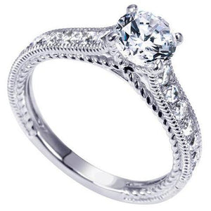 Prong Set 3.00 Carats Round Diamonds Antique Look Ring White Gold Engagement Ring