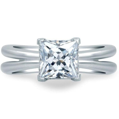 Prong Set 3.00 Ct Princess And Round Cut Diamonds Engagement Ring Solitaire Ring