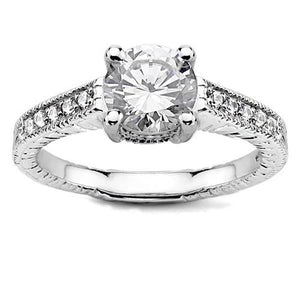 Prong Set 3.35Ct Sparkling Diamonds Solitaire Ring With Accents Gold White Solitaire Ring with Accents