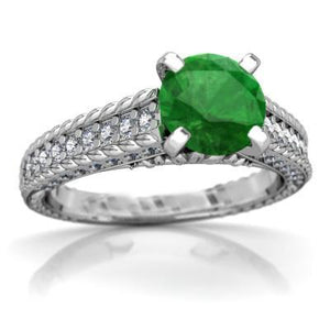 Prong Set 3.50 Ct. Round Cut Emerald And Diamonds Ring White Gold Gemstone Ring