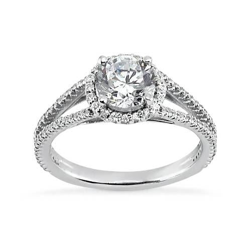 Prong Set 3.62 Carat Round Diamonds Solitaire Halo Ring White Gold 14K Halo Ring
