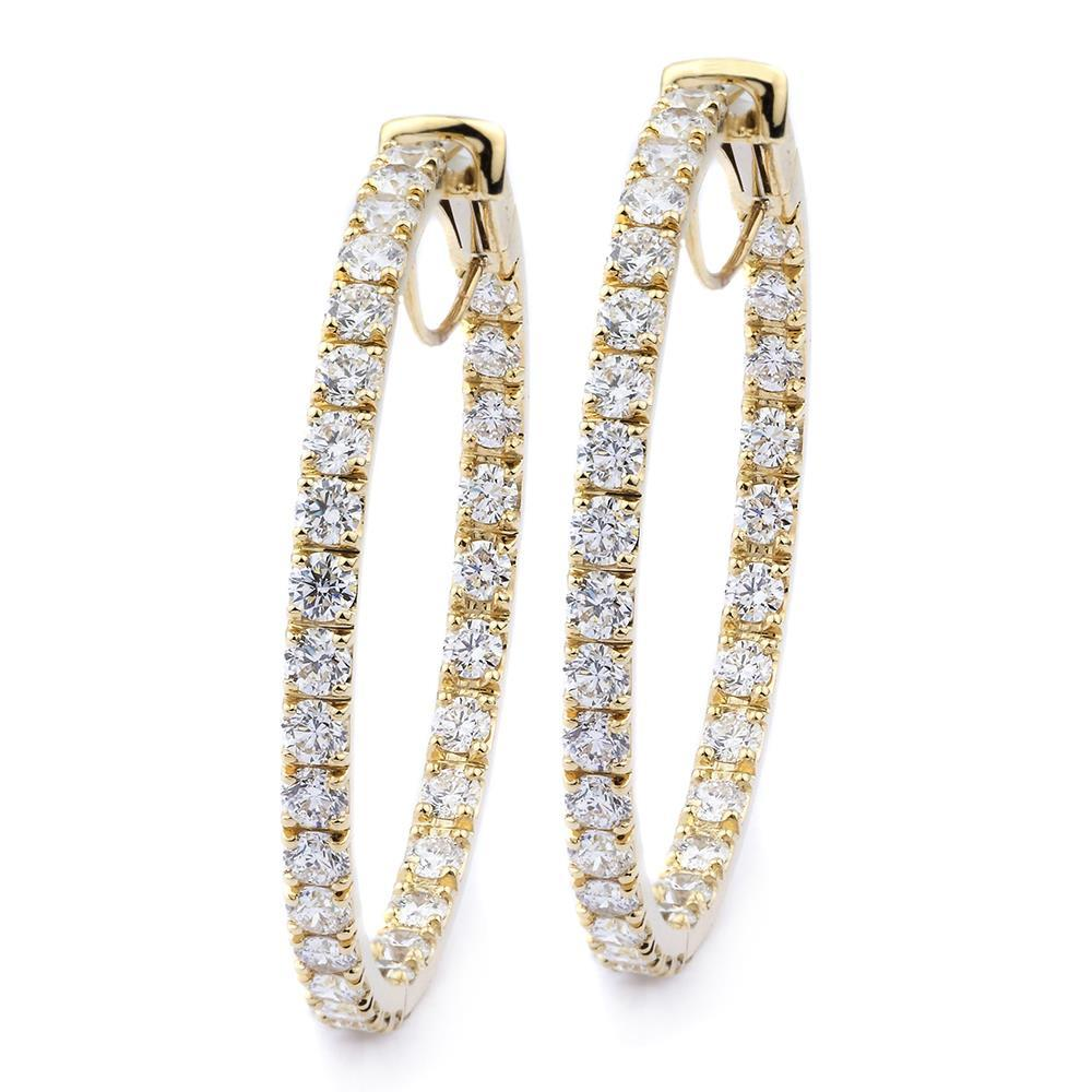 Prong Set 5.00 Carats F Vvs1 Diamonds Ladies Hoop Earrings Gold 14K Hoop Earrings