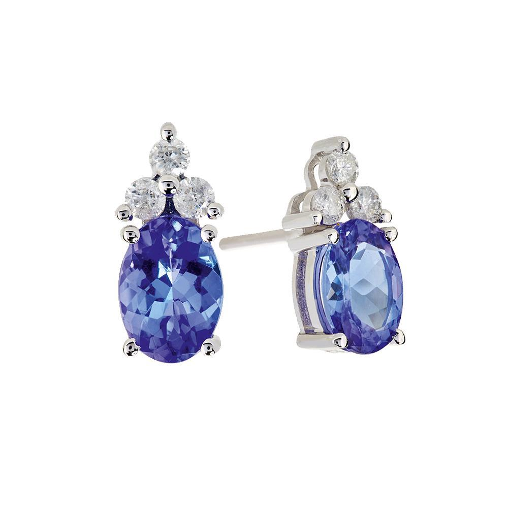 Prong Set 6.90 Carats Tanzanite And Diamonds Studs Earrings White Gold 14K Gemstone Earring