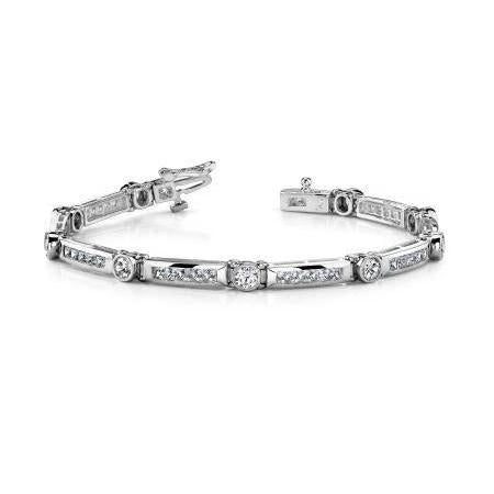 Prong Set 8.50 Ct Sparkling Diamonds Tennis Bracelet White Gold 14K Tennis Bracelet